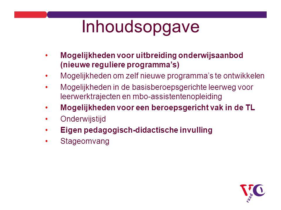 Inhoudsopgave Mogelijkheden voor uitbreiding onderwijsaanbod (nieuwe reguliere programma's) Mogelijkheden om zelf nieuwe programma's te ontwikkelen.