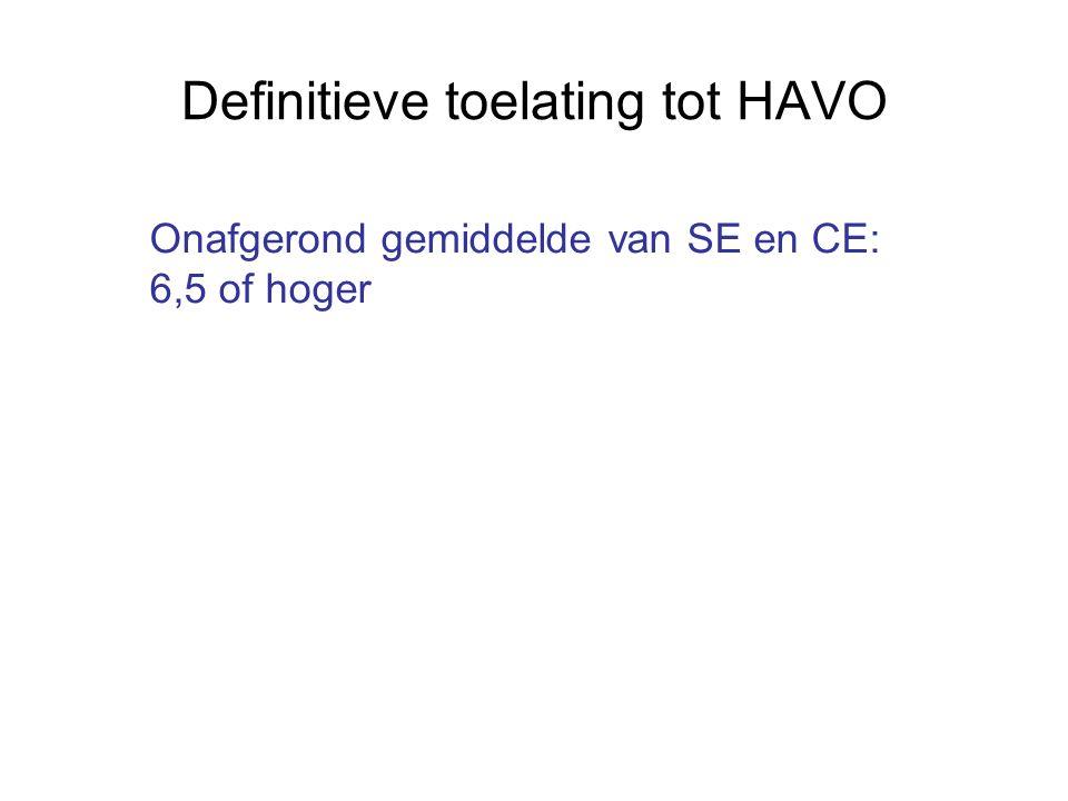Definitieve toelating tot HAVO