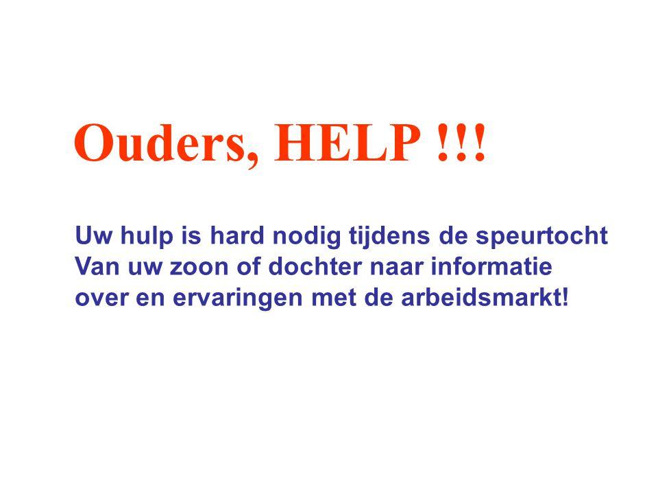 Ouders, HELP !!! Uw hulp is hard nodig tijdens de speurtocht