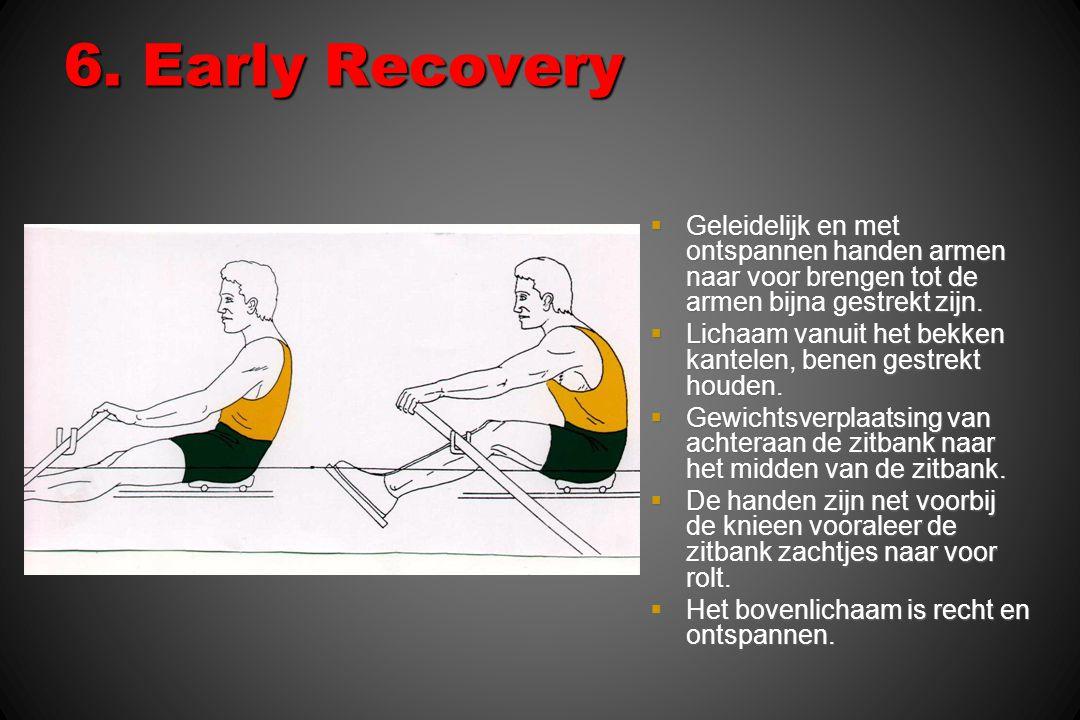 6. Early Recovery Geleidelijk en met ontspannen handen armen naar voor brengen tot de armen bijna gestrekt zijn.