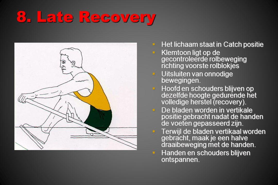 8. Late Recovery Het lichaam staat in Catch positie