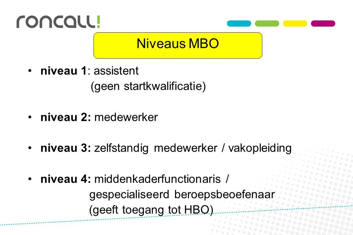 Niveaus MBO niveau 1: assistent (geen startkwalificatie)