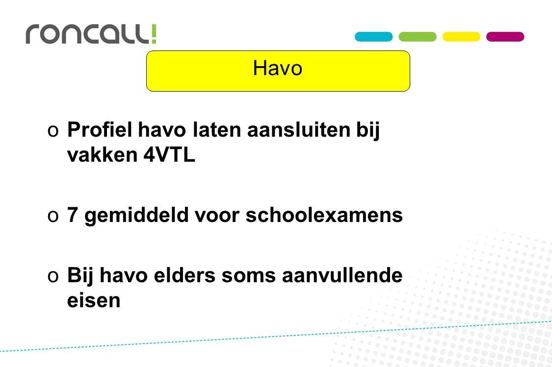 Havo Profiel havo laten aansluiten bij vakken 4VTL.