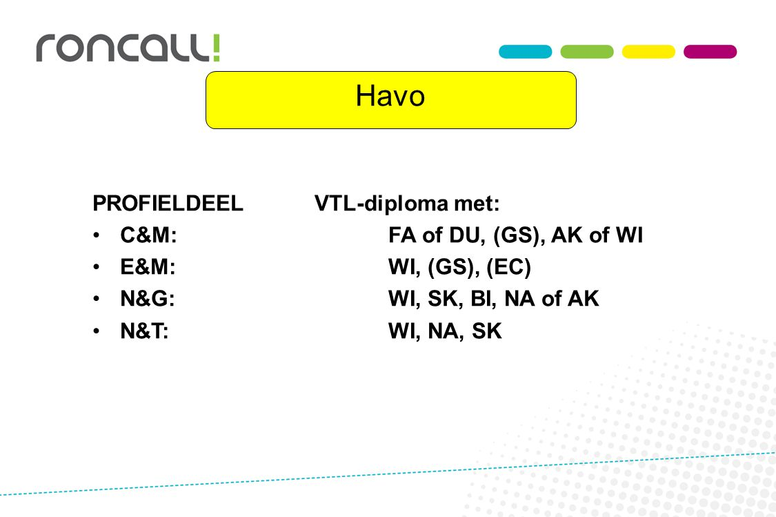 Havo PROFIELDEEL VTL-diploma met: C&M: FA of DU, (GS), AK of WI