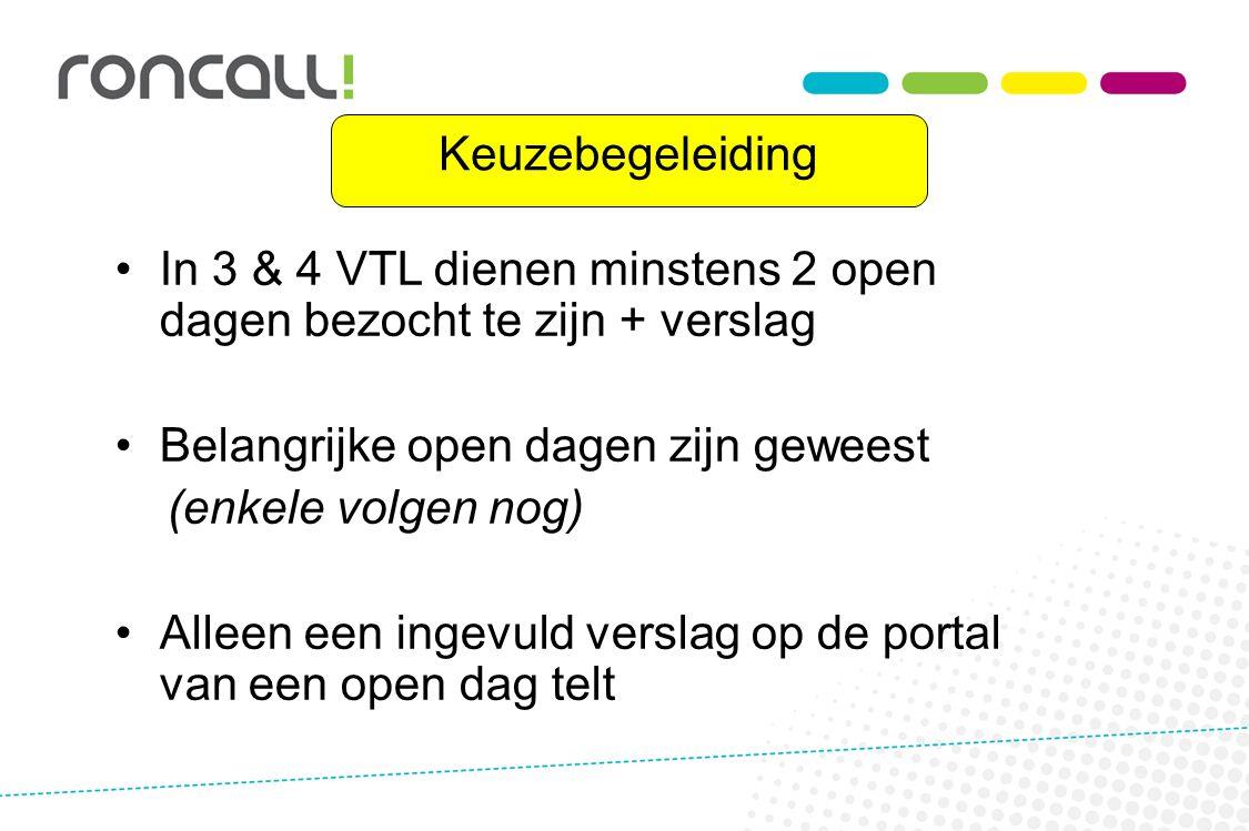 Keuzebegeleiding In 3 & 4 VTL dienen minstens 2 open dagen bezocht te zijn + verslag. Belangrijke open dagen zijn geweest.