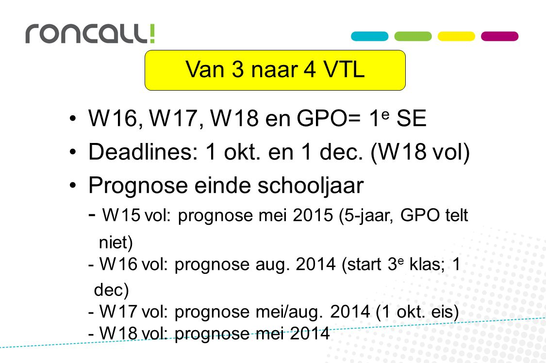Deadlines: 1 okt. en 1 dec. (W18 vol)