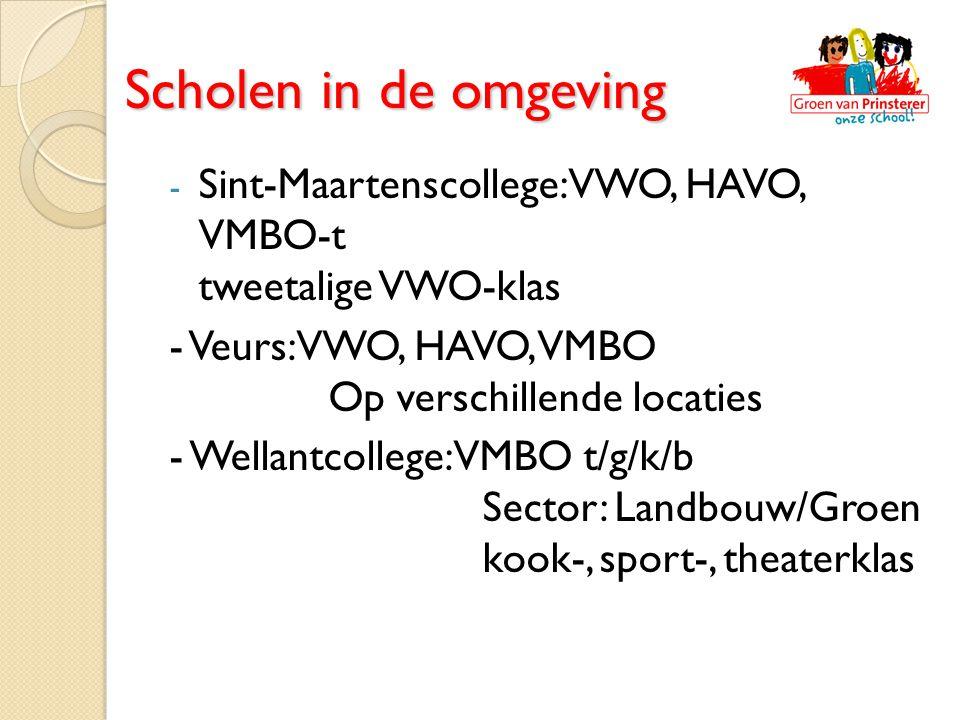 Scholen in de omgeving Sint-Maartenscollege: VWO, HAVO, VMBO-t tweetalige VWO-klas. - Veurs: VWO, HAVO, VMBO Op verschillende locaties.