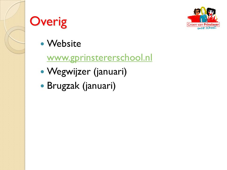 Overig Website www.gprinstererschool.nl Wegwijzer (januari)