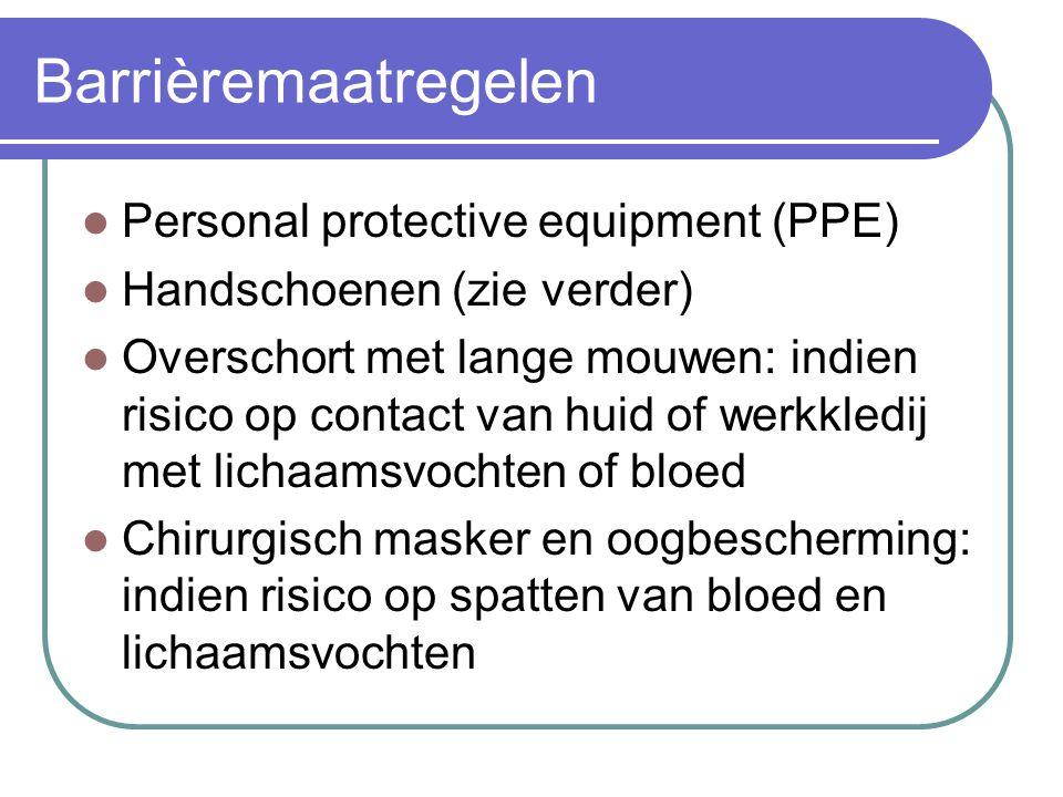 Barrièremaatregelen Personal protective equipment (PPE)