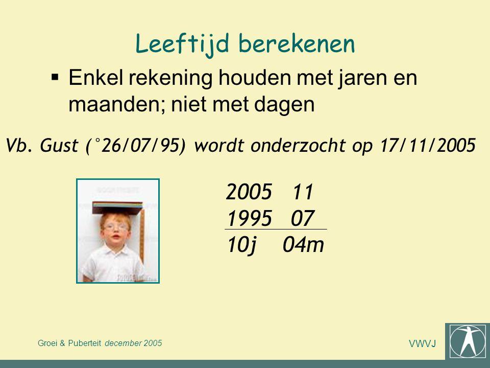 Leeftijd berekenen Enkel rekening houden met jaren en maanden; niet met dagen. Vb. Gust (°26/07/95) wordt onderzocht op 17/11/2005.