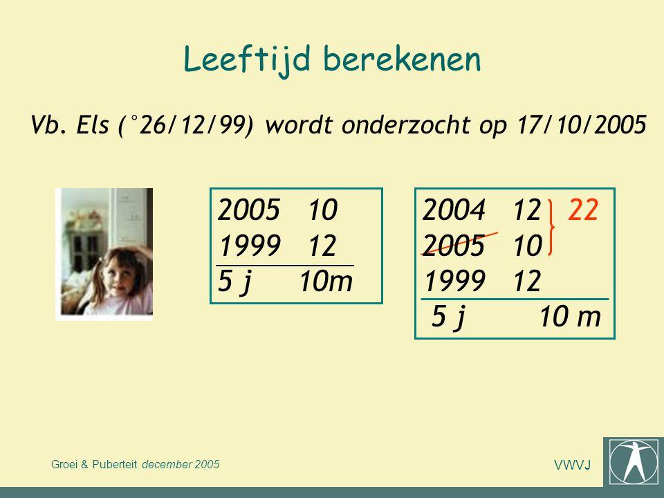 Leeftijd berekenen Vb. Els (°26/12/99) wordt onderzocht op 17/10/2005. 2005 10 1999 12 5 j 10m.