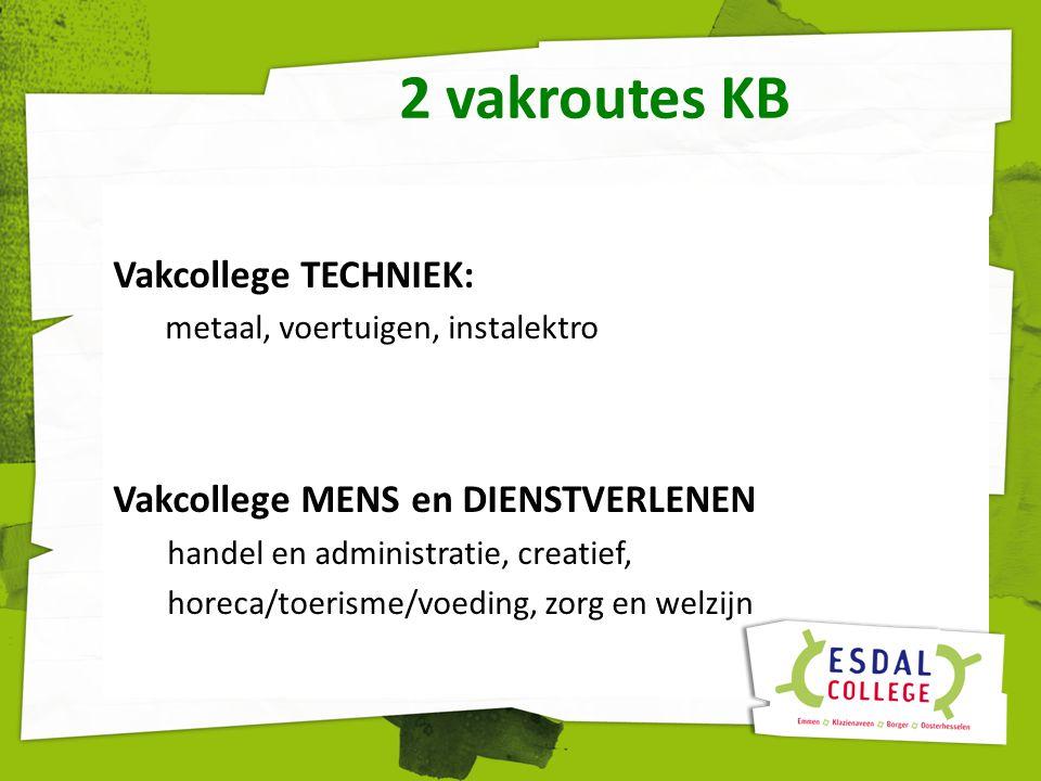 2 vakroutes KB Vakcollege TECHNIEK: Vakcollege MENS en DIENSTVERLENEN