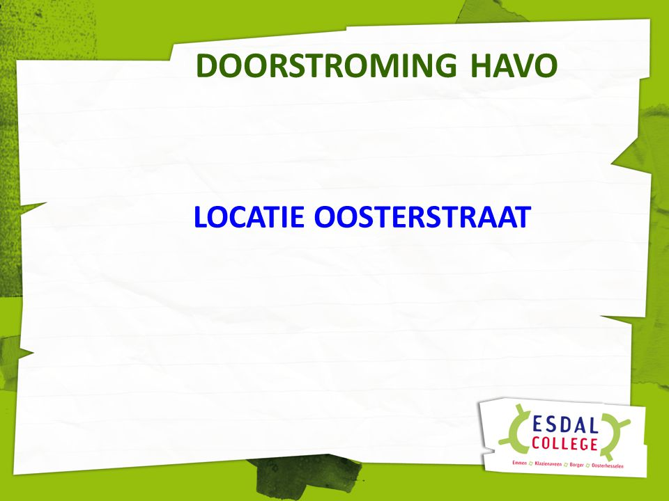 DOORSTROMING HAVO LOCATIE OOSTERSTRAAT