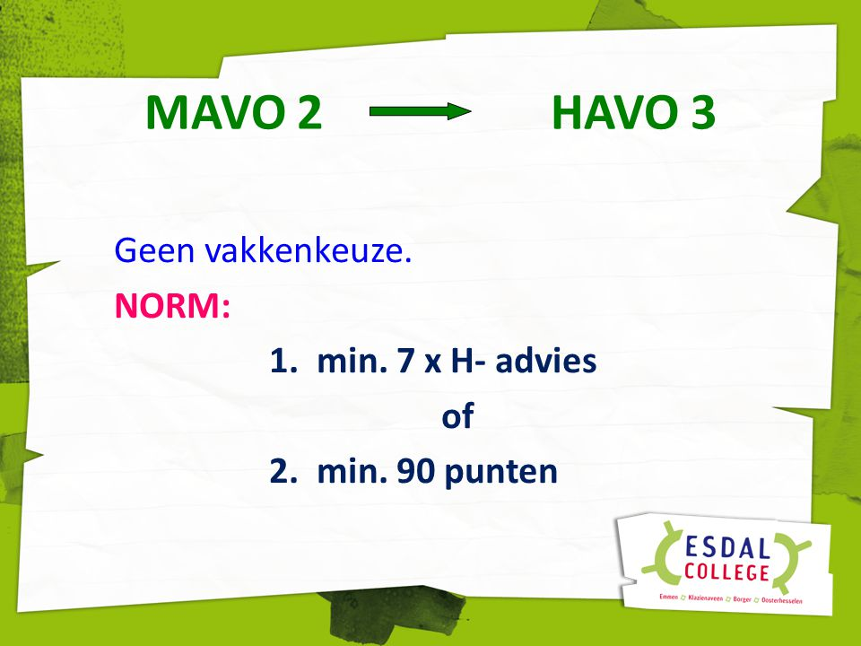 MAVO 2 HAVO 3 Geen vakkenkeuze. NORM: 1. min. 7 x H- advies of 2. min. 90 punten