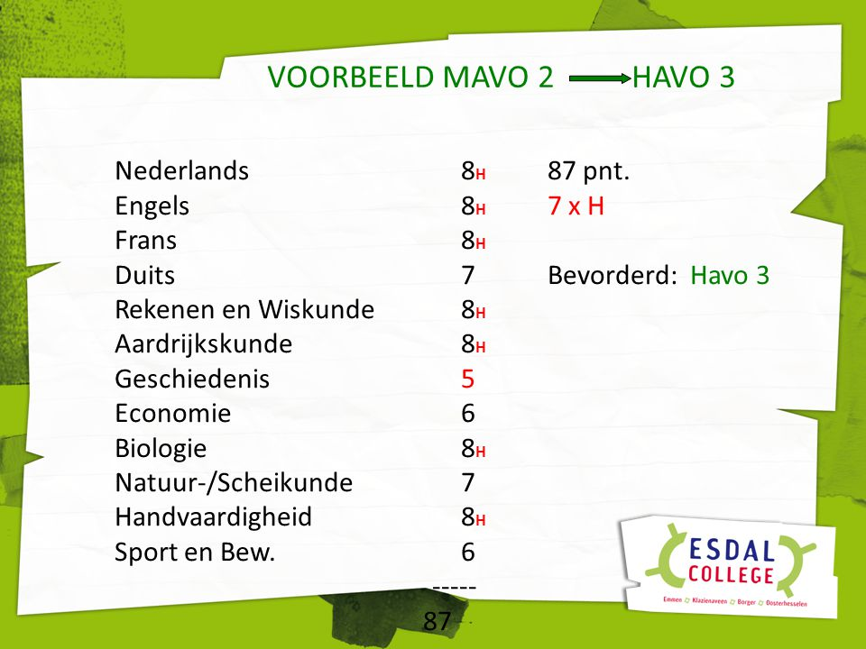 VOORBEELD MAVO 2 HAVO 3