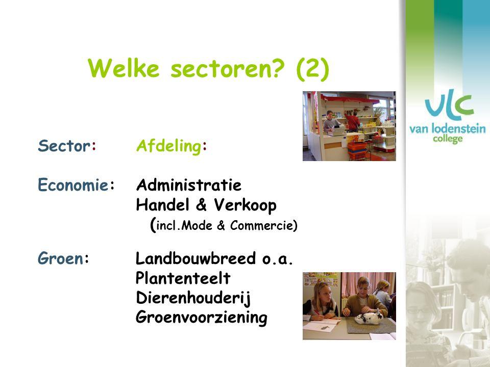 Welke sectoren (2) Sector: Afdeling: Economie: Administratie