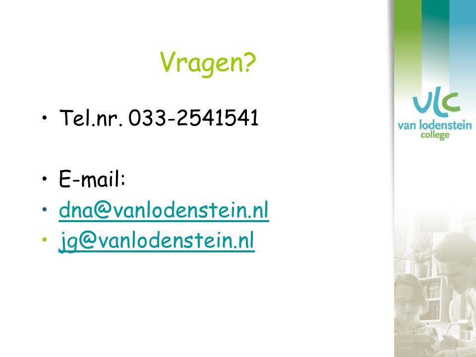 Vragen Tel.nr. 033-2541541 E-mail: dna@vanlodenstein.nl
