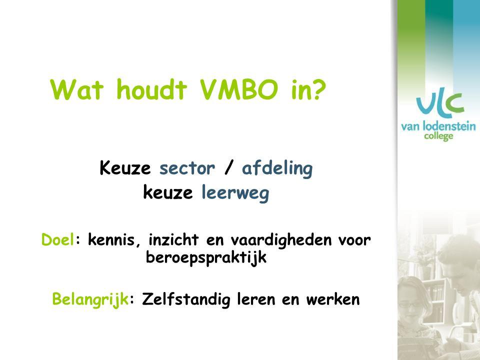Wat houdt VMBO in Keuze sector / afdeling keuze leerweg