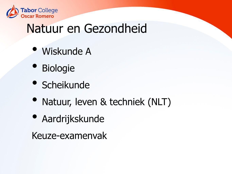 Natuur en Gezondheid Wiskunde A Biologie Scheikunde