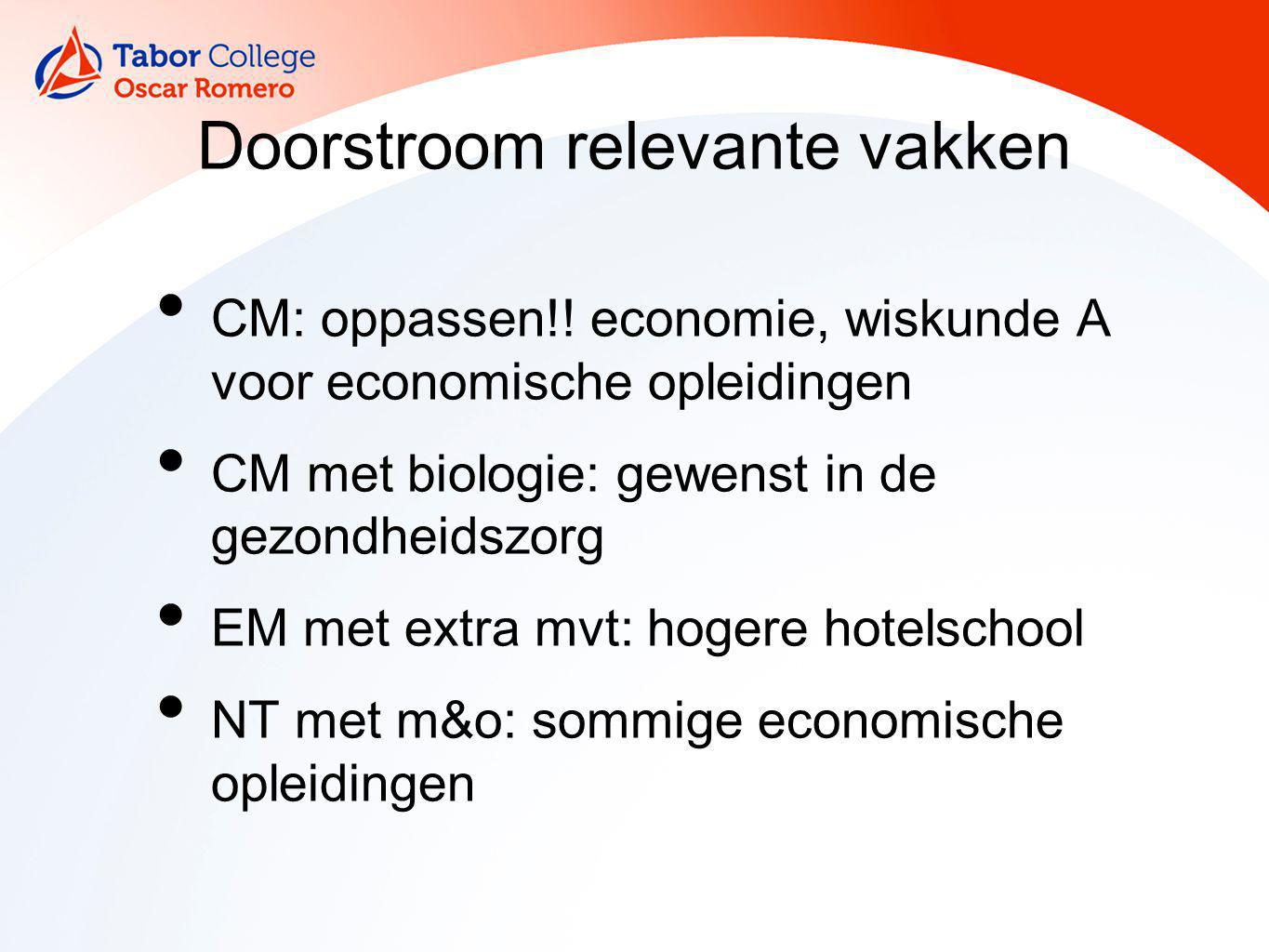 Doorstroom relevante vakken