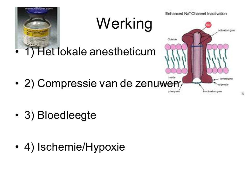 Werking 1) Het lokale anestheticum 2) Compressie van de zenuwen