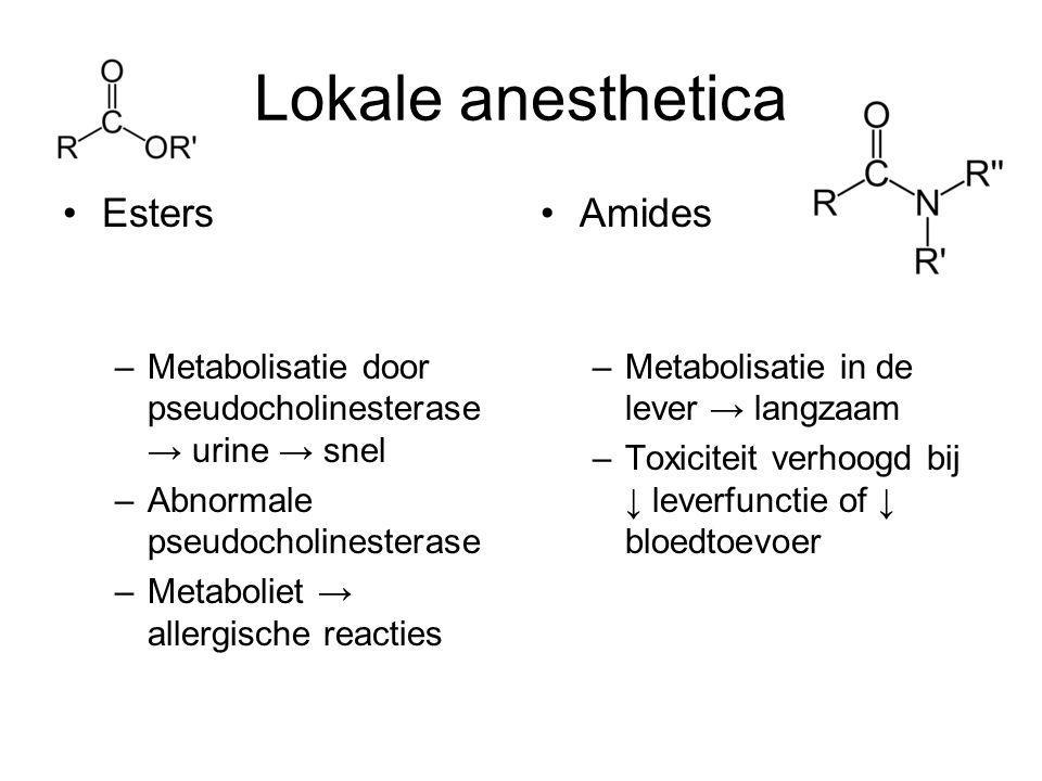 Lokale anesthetica Esters Amides
