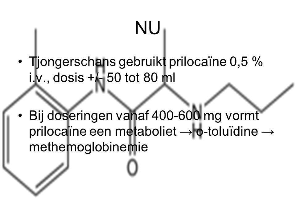 NU Tjongerschans gebruikt prilocaïne 0,5 % i.v., dosis +/- 50 tot 80 ml.