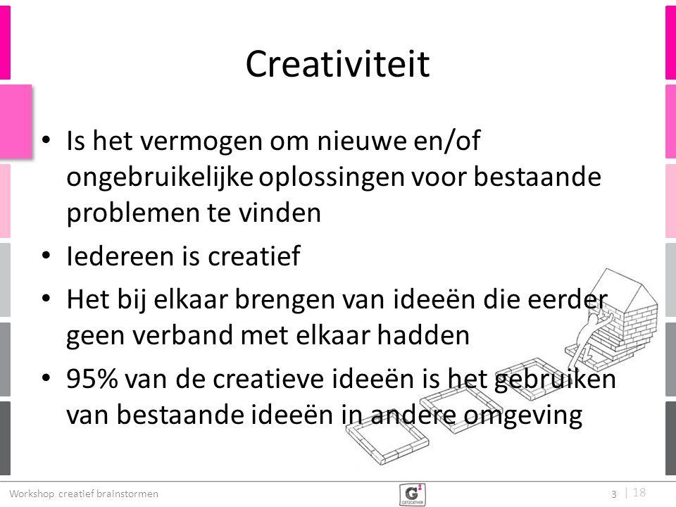 Creativiteit Is het vermogen om nieuwe en/of ongebruikelijke oplossingen voor bestaande problemen te vinden.