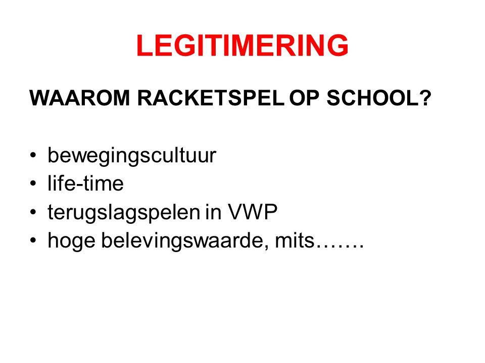 LEGITIMERING WAAROM RACKETSPEL OP SCHOOL bewegingscultuur life-time