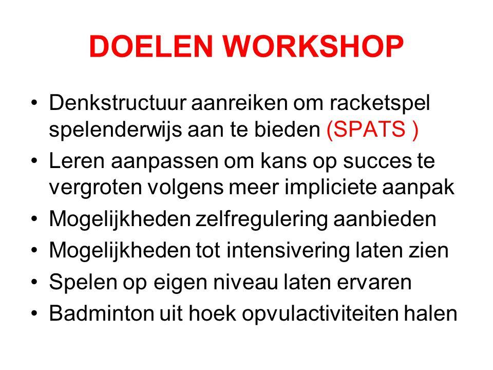 DOELEN WORKSHOP Denkstructuur aanreiken om racketspel spelenderwijs aan te bieden (SPATS )