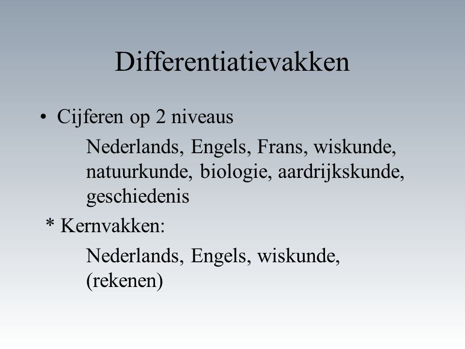 Differentiatievakken