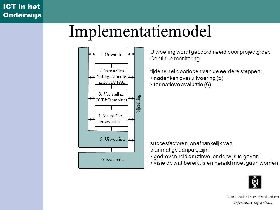 Implementatiemodel Uitvoering wordt gecoordineerd door projectgroep