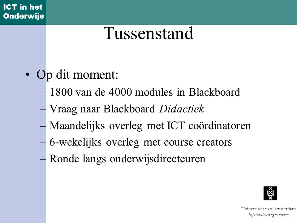 Tussenstand Op dit moment: 1800 van de 4000 modules in Blackboard