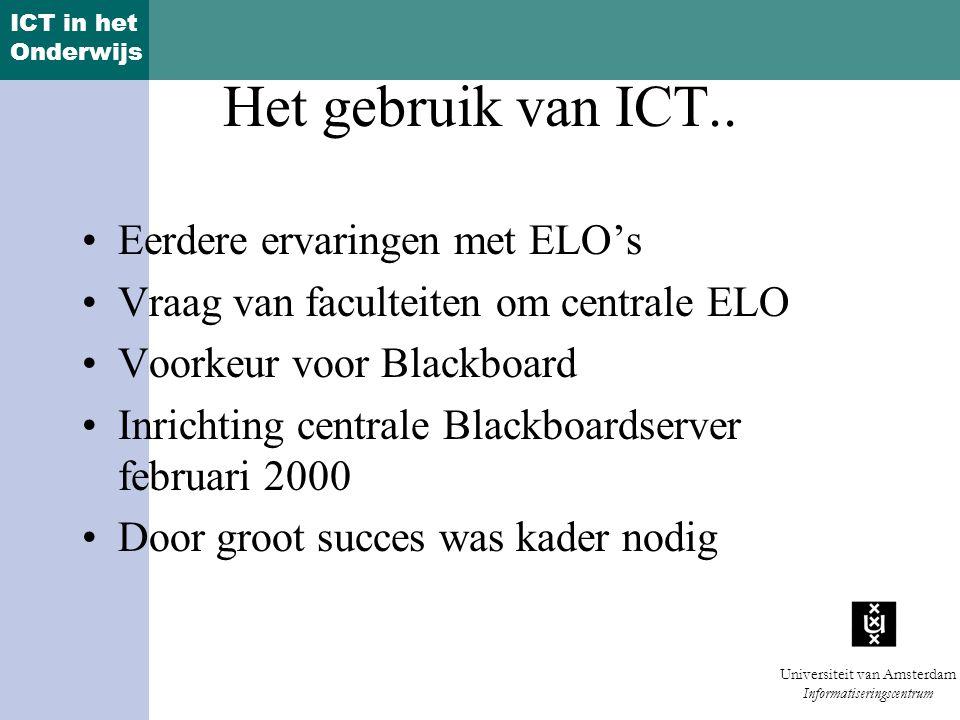 Het gebruik van ICT.. Eerdere ervaringen met ELO's