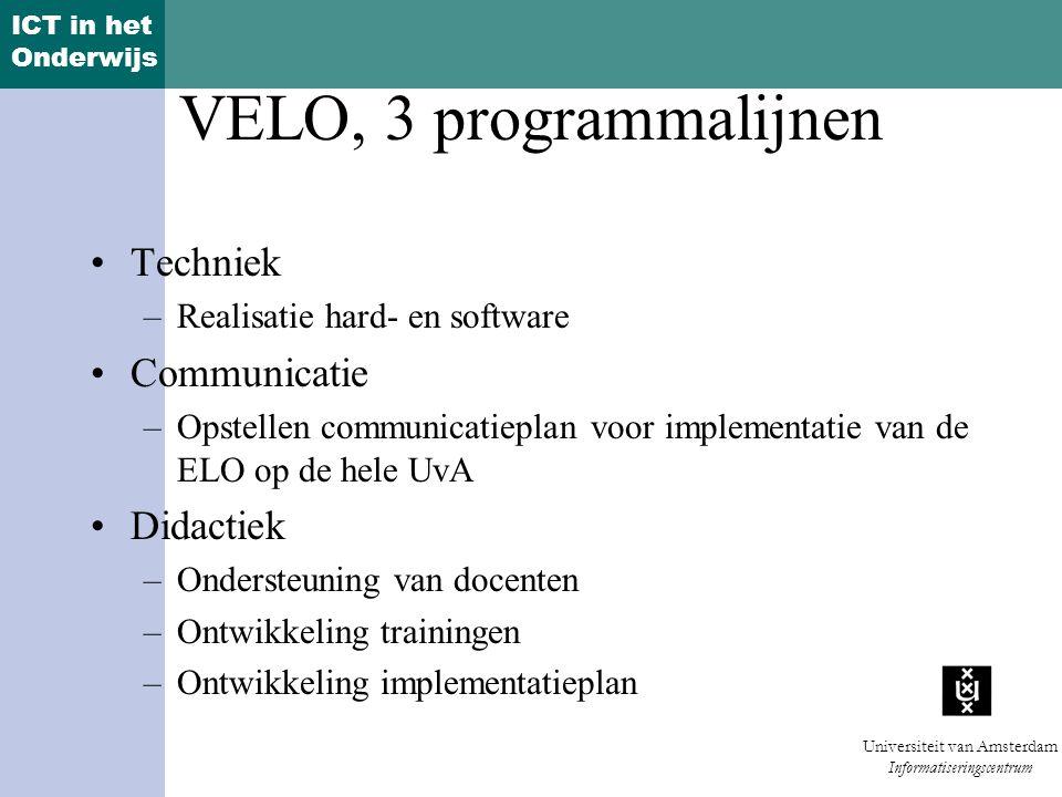 VELO, 3 programmalijnen Techniek Communicatie Didactiek