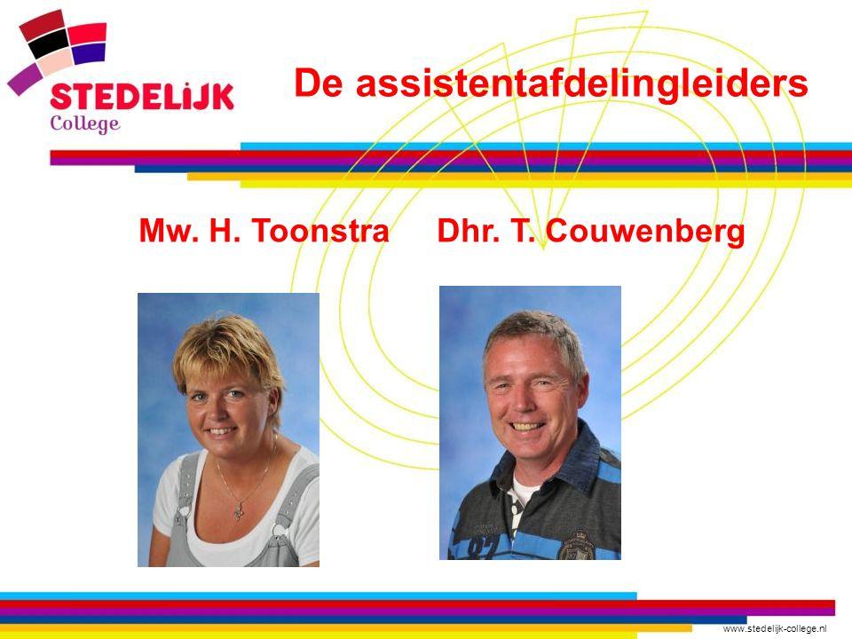 De assistentafdelingleiders Mw. H. Toonstra Dhr. T. Couwenberg