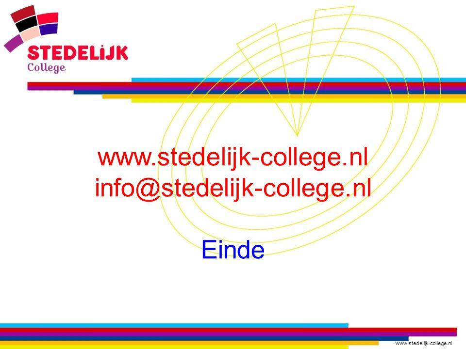 www.stedelijk-college.nl info@stedelijk-college.nl Einde