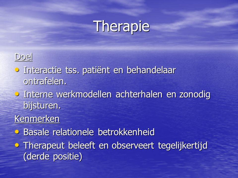Therapie Doel Interactie tss. patiënt en behandelaar ontrafelen.