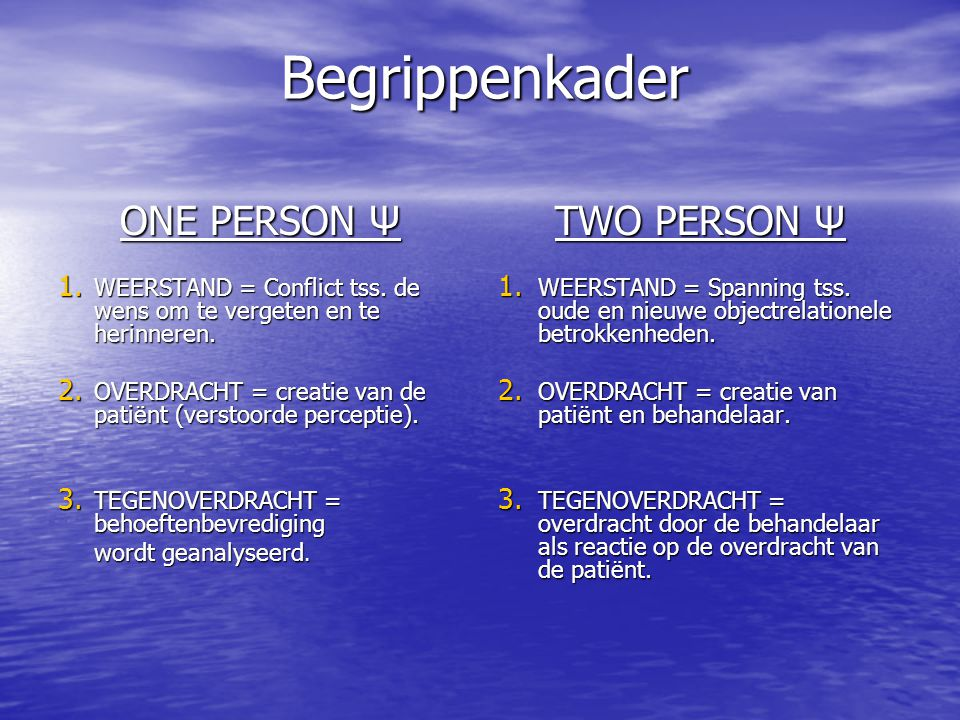 Begrippenkader ONE PERSON Ψ TWO PERSON Ψ