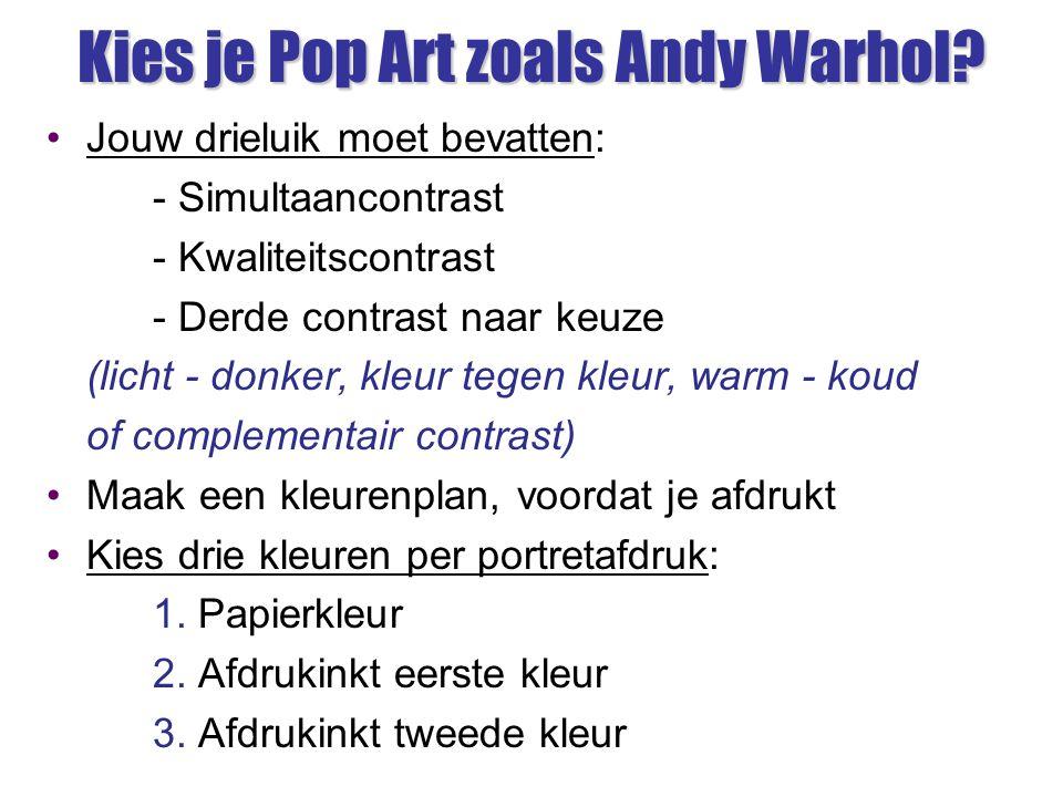 Kies je Pop Art zoals Andy Warhol