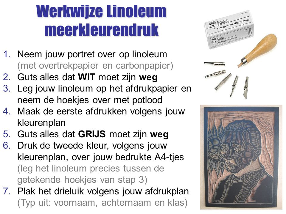 Werkwijze Linoleum meerkleurendruk