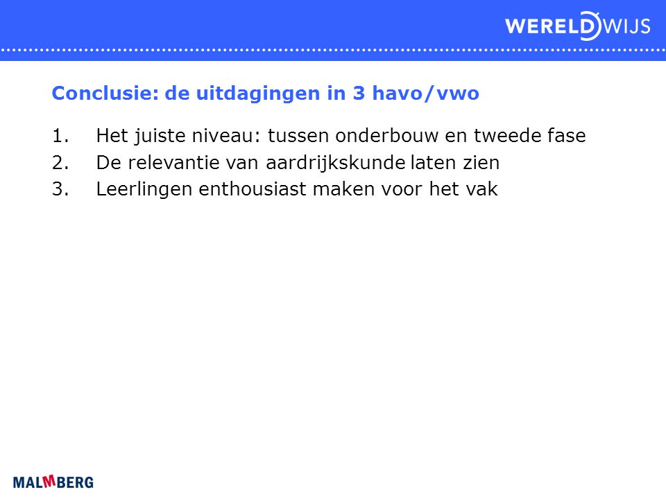 Conclusie: de uitdagingen in 3 havo/vwo