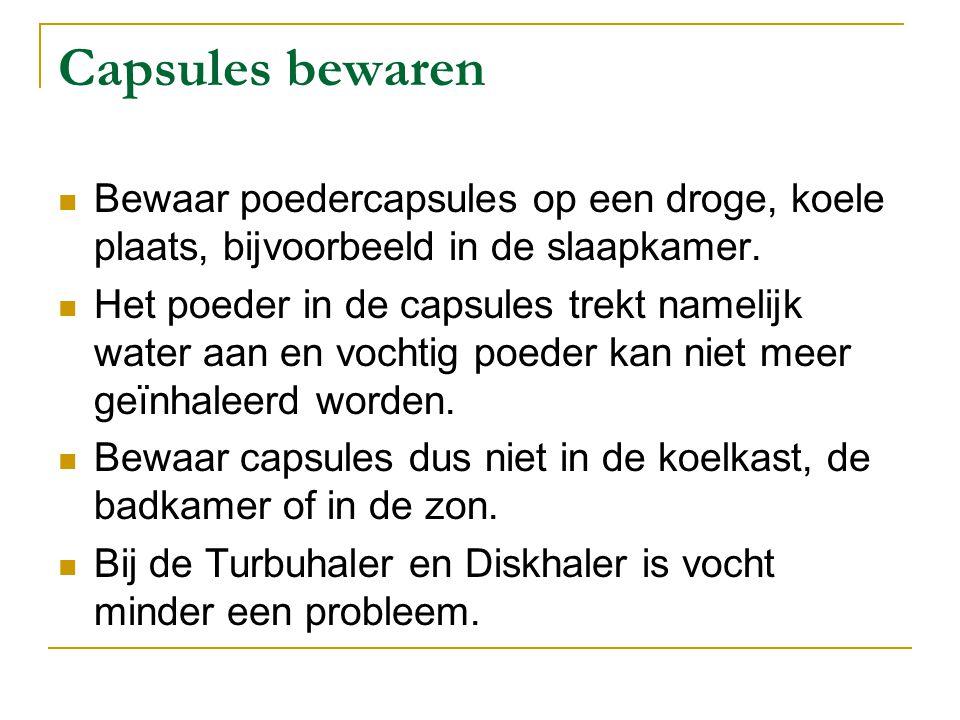 Capsules bewaren Bewaar poedercapsules op een droge, koele plaats, bijvoorbeeld in de slaapkamer.