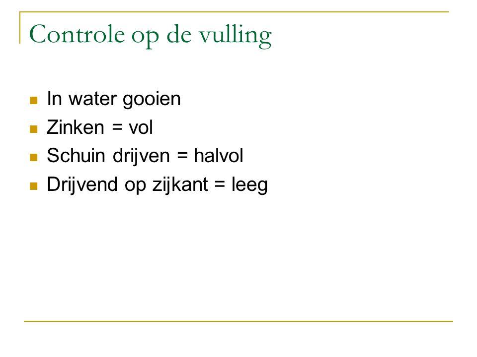Controle op de vulling In water gooien Zinken = vol