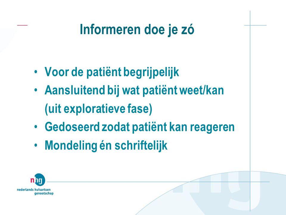 Informeren doe je zó Voor de patiënt begrijpelijk