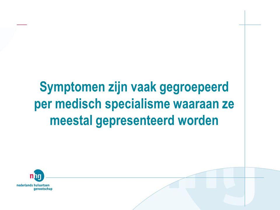 Symptomen zijn vaak gegroepeerd per medisch specialisme waaraan ze meestal gepresenteerd worden