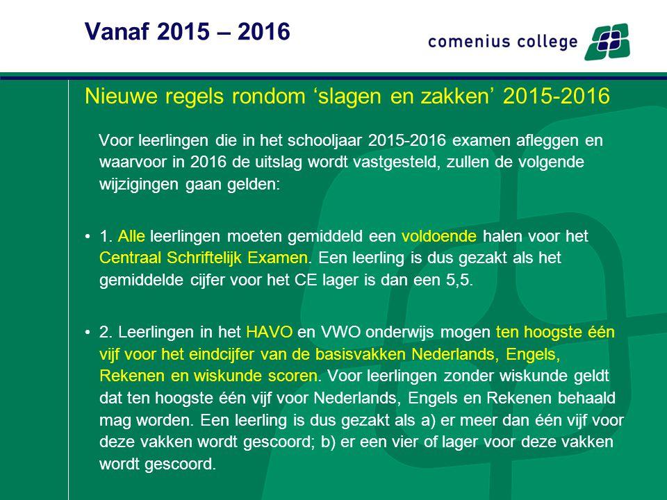 Vanaf 2015 – 2016 Nieuwe regels rondom 'slagen en zakken' 2015-2016