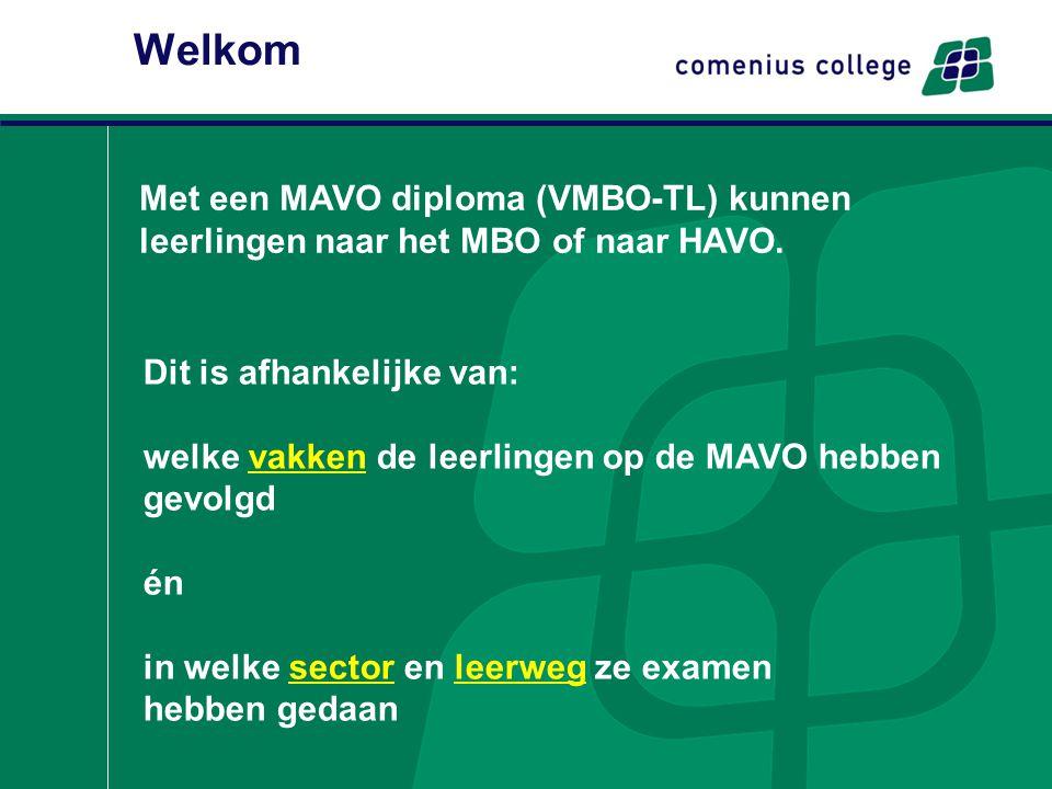 Welkom Met een MAVO diploma (VMBO-TL) kunnen leerlingen naar het MBO of naar HAVO. Dit is afhankelijke van: