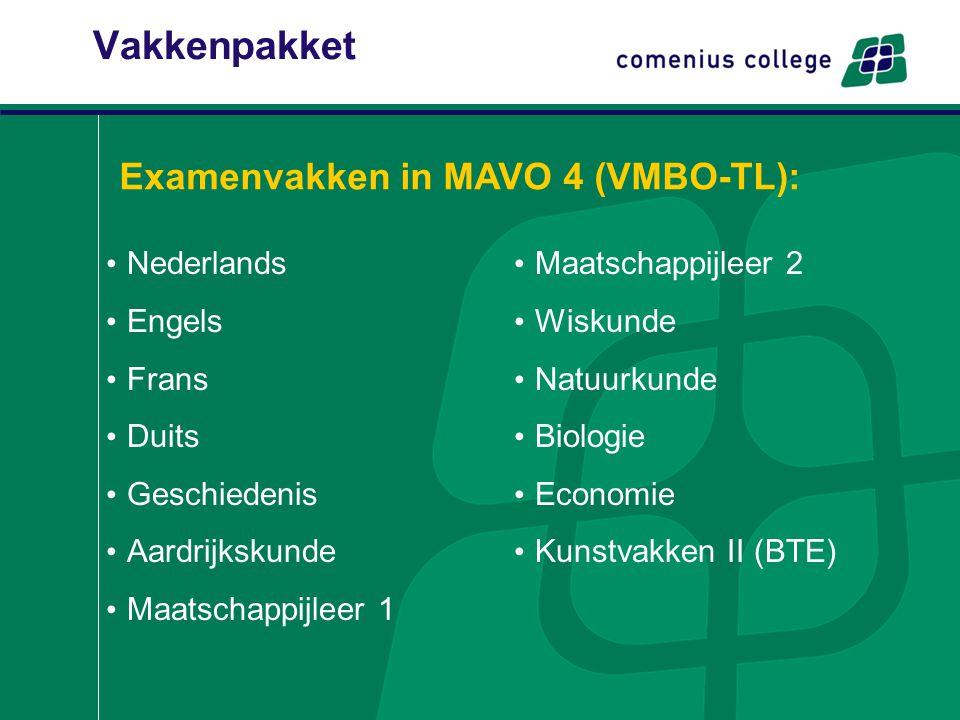 Vakkenpakket Examenvakken in MAVO 4 (VMBO-TL): Nederlands Engels Frans