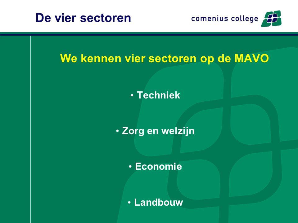 We kennen vier sectoren op de MAVO